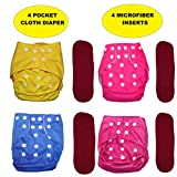 Bottom Genius Reusable Pocket Cloth Diapers for Babies Set of 4 with 4