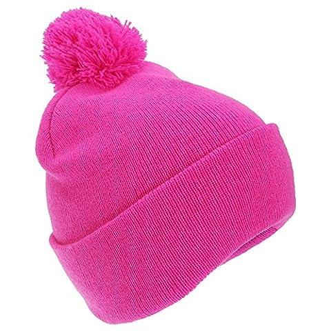 FLOSO® Kinder Winter Strick Mütze Hi Vis mit Bommel (Einheitsgröße) (Pink)