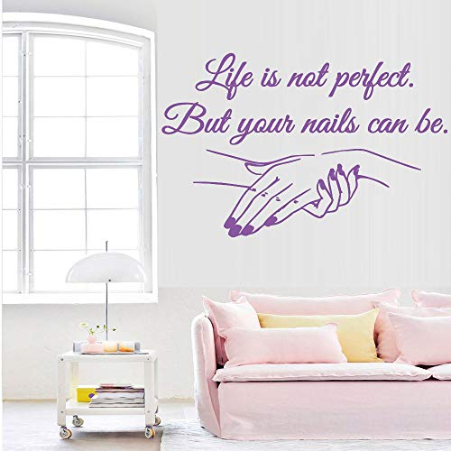 Preisvergleich Produktbild yiyiyaya Exquisite Vinyl Aufkleber Nagelstudio Zitate Wandaufkleber Kunstwand Beauty Salon Dekoration Aufkleber für Frauen mädchen Schlafzimmer dekor lila 43 cm X 66 cm
