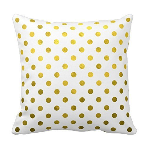 Sweet grape Warm Color Generic Custom Gold Leaf Metallic Polka Dot on White Dots Pattern Throw Pillows Decorative Pillow Cover case 18inch Throw Pillow Cover case Cushion Cover Twin Sides
