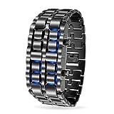 Bling Jewelry Mens, Brünierter Stahl zurück Gesichtslosen Lava Blue Watch Legierung