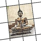 creatisto Dekorfliesen Designfolie | Fliesen-Aufkleber Folie Sticker selbstklebend Küche renovieren Bad Wand Dekoration | 15x20 cm Design Motiv Relaxing Buddha - 4 Stück