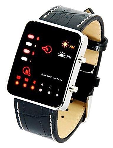 bsfy Faux Croc LED Digital Binary schwarz Leder Band Herren Armbanduhr Binary Code Display Sport Armbanduhr (Croc Leder Faux)