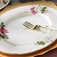 Kütahya Porselen Bone Olympos 30 Parça Yemek Takımı Desen 9784 Altın Yaldızlı, Fileli, 6 Kişilik Yemek Seti
