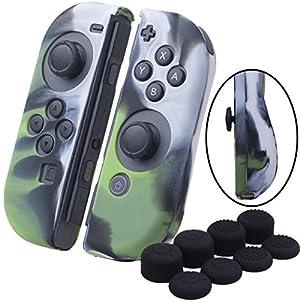 YoRHa Handgriff Silikon Hülle Abdeckungs Haut Kasten für Nintendo Switch/NS/NX Joy-Con controller x 2(Tarnung grün) Mit Joy-Con aufsätze thumb grips x 8