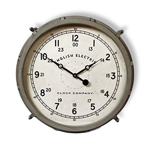 Große Wanduhr Antik-Stil Shabby Stil Uhrwerk Nostalgie Uhr Retro grau aus Metall von Haus der Herzen®