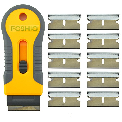 FOSHIO Recharge de lame de rasoir en plastique rétractable pour l'enlèvement de l'adhésif de verre avec des lames de rechange supplémentaires de 10pcs, outils professionnels d'emballage de vinyle de tinte de fenêtre