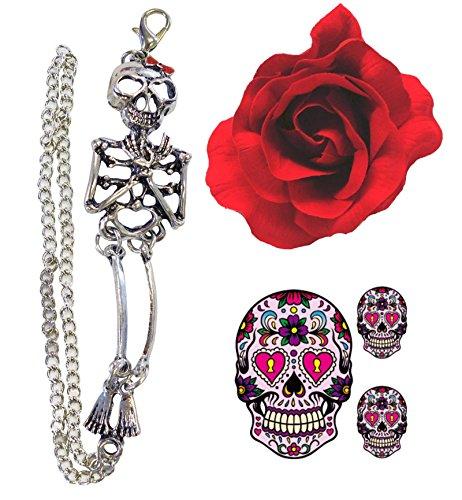 Tag Der Toten Gothic Skelett Armband + Haare Rose + Zucker-Schädel-Tätowierung (Zucker Schädel Kostüm)