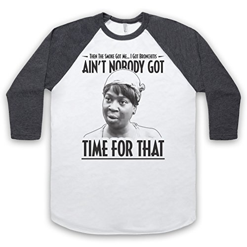 Sweet Brown Ain't Nobody Got Time For That 3/4 Hulse Retro Baseball T-Shirt Weis & Dunkelgrau