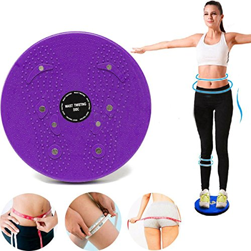 Twist Waist Torsion Disc Board Aerobic Exercise Fitness Reflexology Magnets Balance Board Exercise Equipment (Purple)