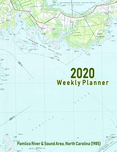 2020 Weekly Planner: Pamlico River & Sound Area, North Carolina (1985): Vintage Topo Map Cover