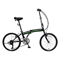 IDS Home Unyousual U Arc Folding City Bike Bicycle 6 Speed Steel Frame Shimano Gear Wanda Tire, Black