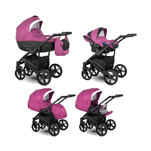 Lux4Kids Stroller Pram 2in1 3in1 Isofix Car seat 12 Colours Free Accessories Leo Black Purple BA-2 4in1 car seat +Isofix Lux4Kids Lux4Kids Leo 3in1 or 2in1 pushchair. You have the choice whether you need a car seat (baby seat certified according to ECE R 44/04 or not). Of course the car is robust, safe and durable Certificate EN 1888:2004, you can also choose our Zoe with Isofix. The baby bath has not only ventilation windows for the summer but also a weather footmuff and a lockable rocker function. The push handle adapts to your size and not vice versa, the entire frame is made of a special aluminium alloy with a patented folding mechanism. 1