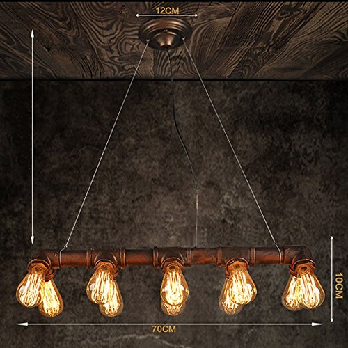 Bar Island Light (HYLH Retro Industrial Steampunk LAMP Iron Pipe Island Ceiling Fixture Pendant Light Vintage (Black) (10 Heads Bronze))