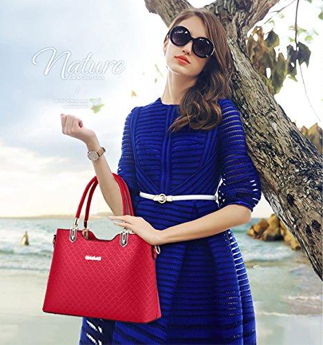 NICOLE&DORIS Elegant Damen Handtaschen Umhängetasche Damenhandtaschen Henkeltaschen Schultertaschen Crossbody PU Hell-Pink Rotwein