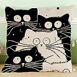 YISUMEI Kissenbezug Kissenhülle 60x60 cm Home Decor Dekokissen Fall Sofa Werfen Kissenbezüge Pillowcases Schwarz Weiß Katze
