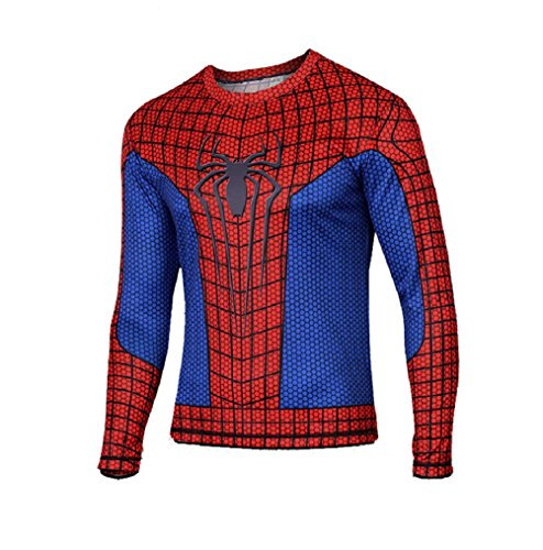 Born2RideTM Superhero Fancy Dress/Costume/Gym/Cycling T-Shirt Tops (Large,
