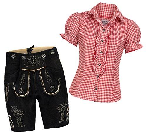 Damen Set Trachten Lederhose Shorts schwarz kurz + Träger + Trachtenbluse Ronda 36 Rot Weiß Kariert 36