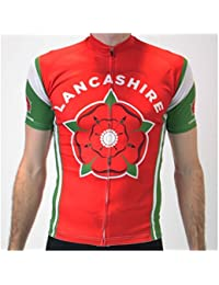 BSK Lancashire Red Rose Flag Mens Short Sleeve Cycling Jersey Cycle Shirt  Top cf113649a