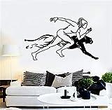 Vinyle Autocollant Mural Amovible Stickers Muraux Runner Fille Sportive Femme Jaguar Vitesse Run