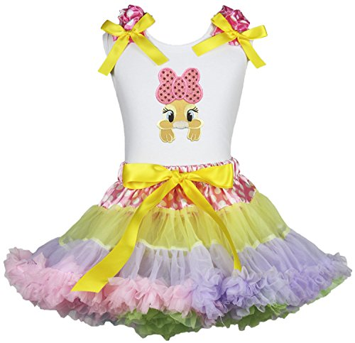 Easter Birthday Bow Bunny White Shirt Rainbow Girl Pettiskirt Clothing Set 1-8y (1-2 ()