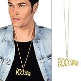 NET TOYS Rockstar Kette mit Anhänger Rocker Halskette Gold Goldkette Musiker Rapper Halsschmuck