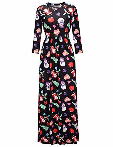 Frauen Christams langes Kleid runder Hals süßer Süßigkeits-Druck Maxi Kleid Weihnachtskleid #3