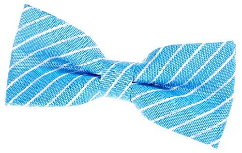 Retreez Classic Woven dünn Streifen vorgebundene Fliege (11,4cm)-verschiedenen Farben Gr. onesize, Light Blue with White Thin Stripe White Stripe Bow Tie