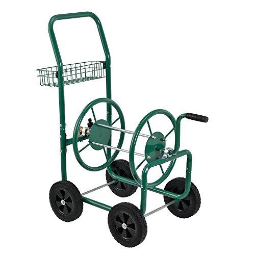 [pro.tec] Metall Schlauchwagen (XL) Profi (Anschlüsse: 3/4 Zoll) (Farbe: grün) - Abrollen in 90° zur Fahrtrichtung