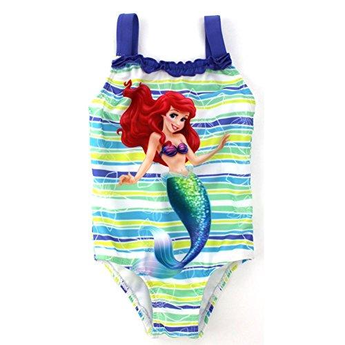 Kleinkind-M?dchen-kleine Meerjungfrau-gestreifter Badeanzug-Mehrfarben 2T (2t Badeanzug)