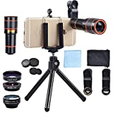 APEXEL 4 In 1 Clip-On Phone Lens Kit,12X...
