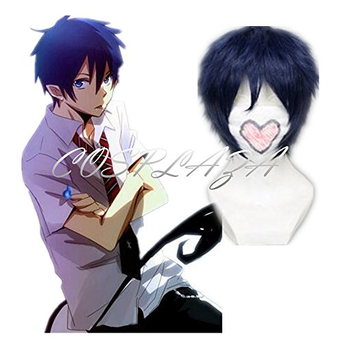 COSPLAZA Cosplay Costume Wigs Perruque Blue Exorcist Rin Okumura courte bleue Cosplay Cheveux