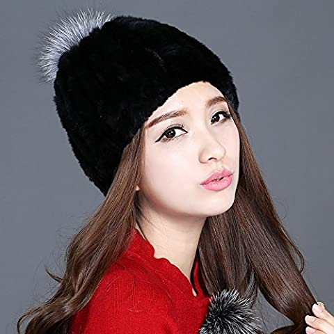 Dngy*Ms. In inverno la pelliccia cappello caldo inverno hat peli di coniglio elegante incantevole Sub nucleare lordo web elastico , al cappuccio nero argento