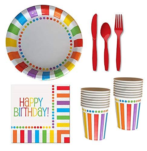 Rainbow Birthday Party Supplies für 16 Gäste, Pappteller, Becher, Servietten und rotes Besteck: Messer, Gabeln, Löffel (Zirkus-party-einladungen)