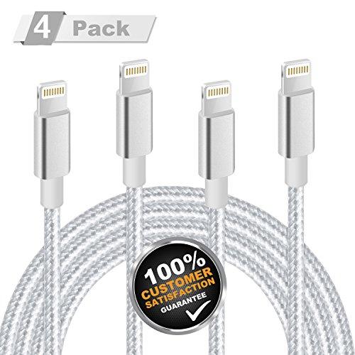 iPhone Ladekabel , MiTE Lightning Kabel [Nylon geflochten] 1M+2M*2+3M für iPhone X/ 8/ 7/ 6 Plus/ 6S/ 5S/ iPad Mini , iPad Air 2/ Pro und mehr (Silbergrau)