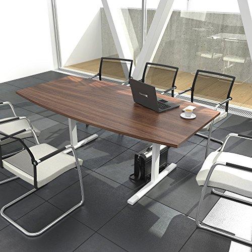 EASY Konferenztisch Bootsform 200x100 cm Nussbaum Besprechungstisch Tisch, Gestellfarbe:Weiß