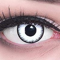 Funnylens 1 Paar farbige weisse schwarze Crazy Fun lunatic Jahres Kontaktlinsen gratis Behälter perfekt zu Halloween, Karneval, Fasching oder Fasnacht mit gratis Kontaktlinsenbehälter ohne Stärke