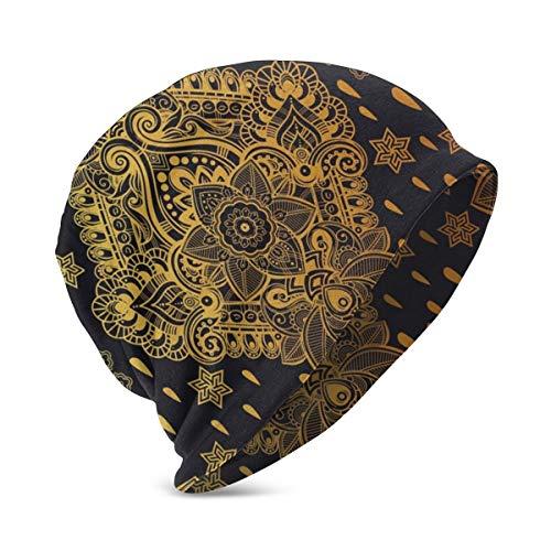 Beanie Knit Cap for Boy Girl, Bohemian Paisley Ornament Henna Tattoo Ethnic Tribal Vintage Design, SoftWarmWinterhat