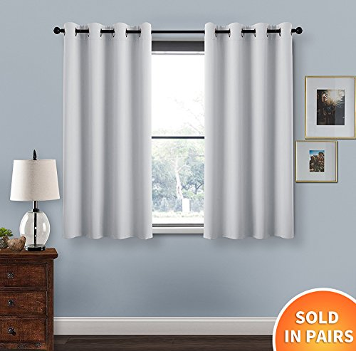 Thermal Insulated Eyelet Blackout Curtains   PONY DANCE (52 In Width By 54  Inch Drop, Greyish White, One Pair) Room Darkening Window Treatment Curtain  ...