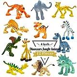 Figure da 4 pollici di Dinosauro del fumetto con gli animali della foresta, 12 pezzi animali selvatici di plastica e Dino Favori Giocattoli Giocano insieme BigNoseDeer(Animale selvaggio+ Dinosauro)