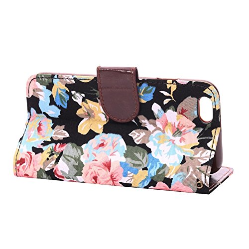 "inShang Hülle für Apple iPhone 6 Plus iPhone 6S Plus 5.5 inch iPhone 6+ iPhone 6S+ iPhone6 5.5"", Cover Mit Modisch Klickschnalle + Errichten-in der Tasche + FLOWER CLOTH PATTERN, Edles PU Leder Tasche flower cloth black"