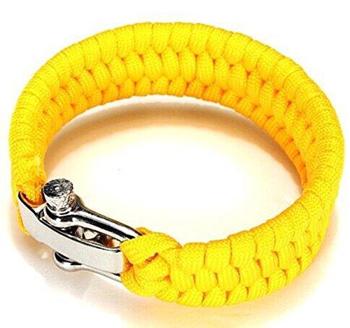 Careforyou® Verstellbares Armband aus Paracord, mit D-Ring, aus Edelstahl, für den Außenbereich, für den Notfall, Selbstverteidigung, Werkzeug, HW01, 04 Yellow, 4 mm