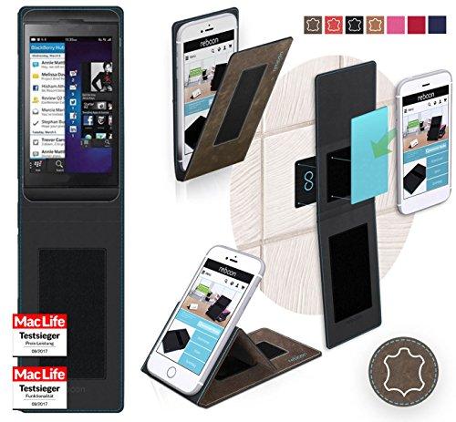 lackBerry Z10 Tasche Cover Case Bumper | Braun Wildleder | Testsieger ()