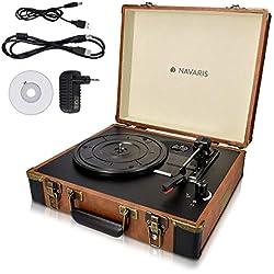 Navaris Platine Vinyle Tourne-Disque - 33/45/78 Tours - 2X Haut-Parleur intégré - Conversion Vinyle vers MP3 - Valise rétro Marron Noire