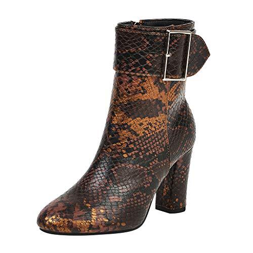 Damen Stiefeletten High Heels GroßE GrößE Stiefel TTLOVE Mode Runde Snake Print Schnalle ReißVerschluss Ankle Boots,35-41(Braun,39 EU) (Schnalle Print Snake)