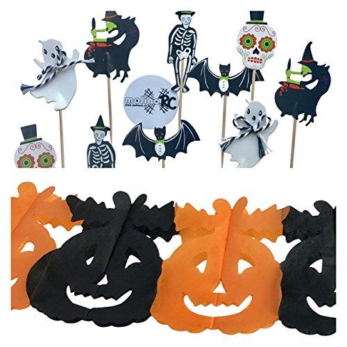 (  Mega Halloween Set: 1x Halloween Girlande Kürbis 3m   orange schwarz + 10x Halloween Zahnstocker   Grusel Party Cocktailfähnchen   Dekostecker Sticker   Picks Häppchen Helloween Party Fahne   Cakepops Fledermaus Kürbis   Hexe Geist Totenkopf Skelett - molinoRC)