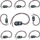 Cavo connettore della batteria - SODIAL(R) 3 Pz Shell 9V 9 Volt Battery cavo in pelle I Tipo Faux connettore clip