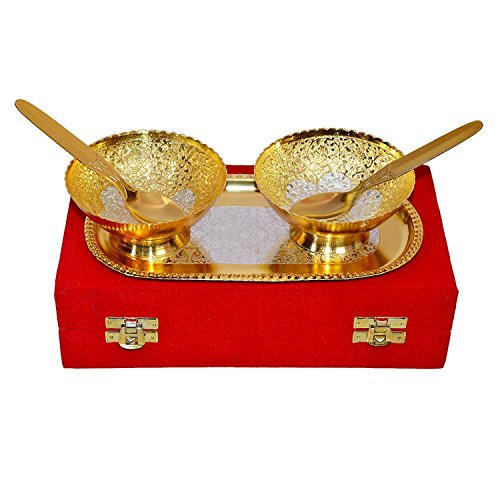Dhanteras-Gift-ItemIZOR-Gold-Silver-Plated-Brass-BowlSpoon-Tray-Set-of-5-Items