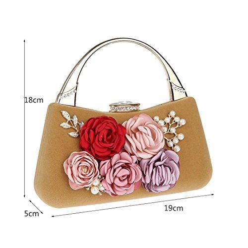 KAXIDY Damen Clutch Abendtasche Handtasche Handmade Clutch Brauttasche Hochzeittasche Aprikose