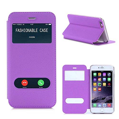 iPhone 6 Plus Etui Coque, SHANGRUN PU Cuir Housse Coque Fenêtre d'ouverture Case Flip Cas de Protection Portable Skin View Window Etui Cover pour iPhone 6 / 6S Plus (5.5 inch) Doré Violet